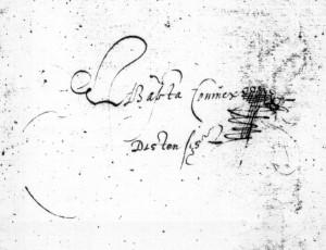 Brussels - KBR - 837-45, front pastedown: Inscription by Jan Baptista Coninckx (by courtesy of KBR Brussels)