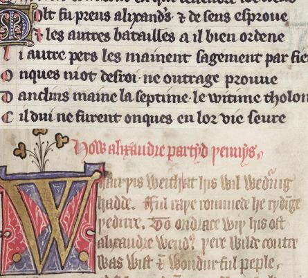 Oxford, Bodleian Library MS. Bodl. 264, fol. 8r and fol. 209r (details)